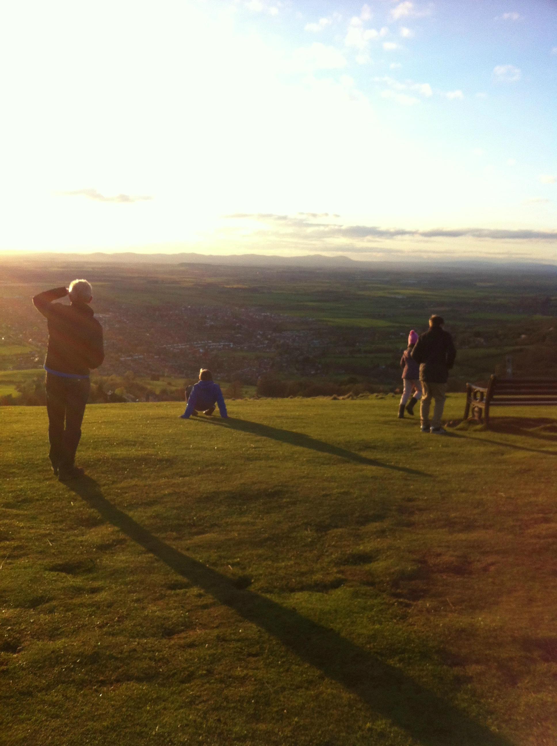 Hill, walking, family, 365, sunset