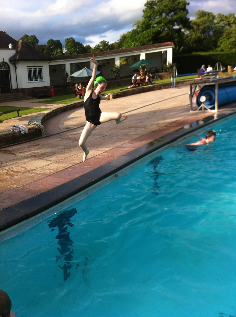 Daughter, swimming pool, jumping, 365