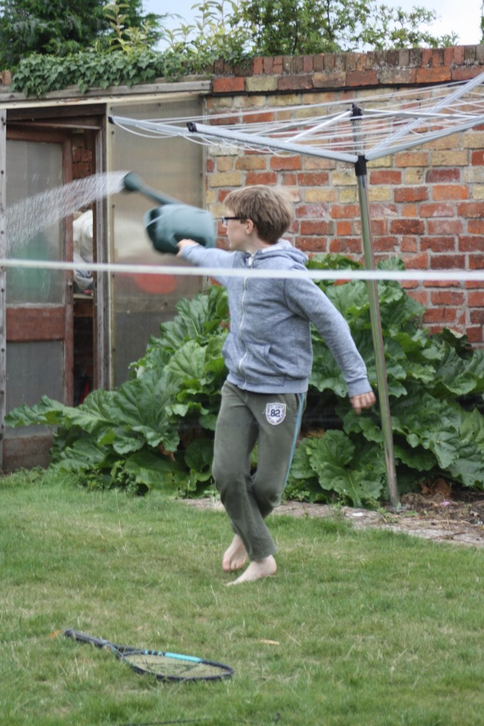 Son, garden, watering can