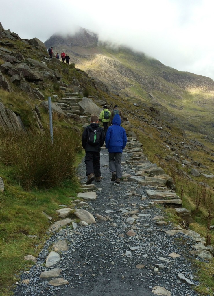 Boys, sons, climbing, walking, Snowdon, Loud 'n' Proud