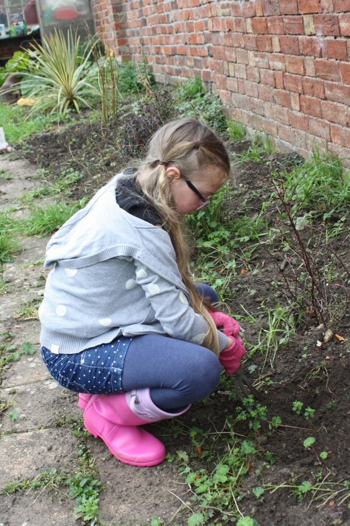 Daughter, gardening, garden, weeding