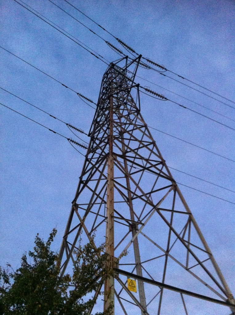 Pylon, walk, evening, silhouette, autumn
