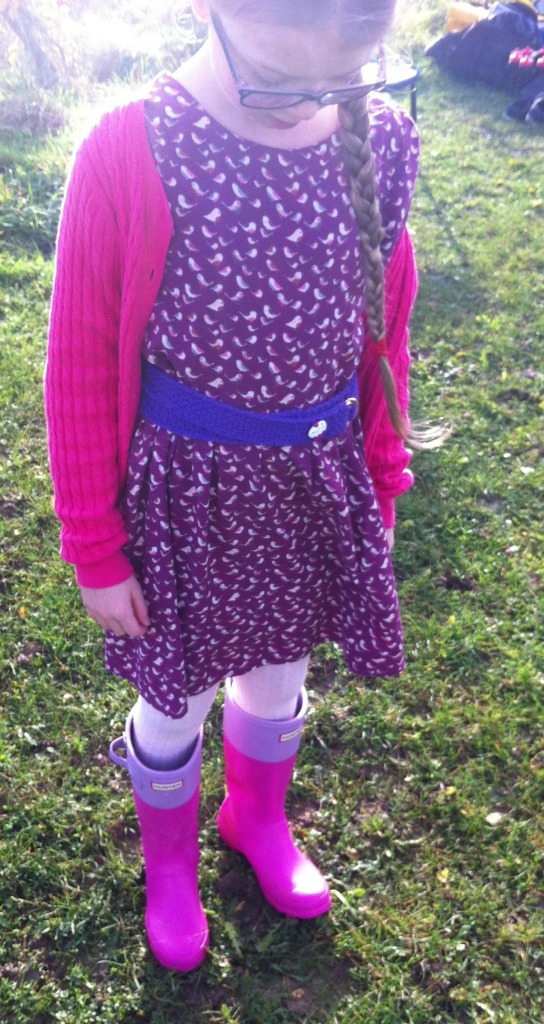 Daughter, rugby, dress, wellies, 365