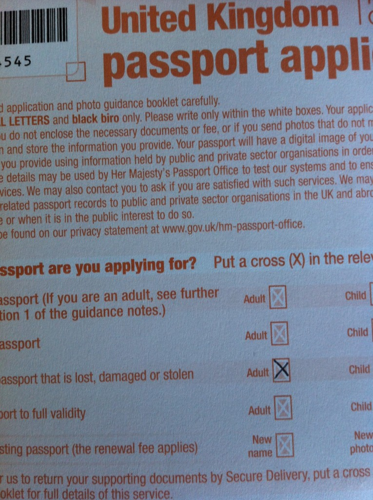 Passport application form, 365
