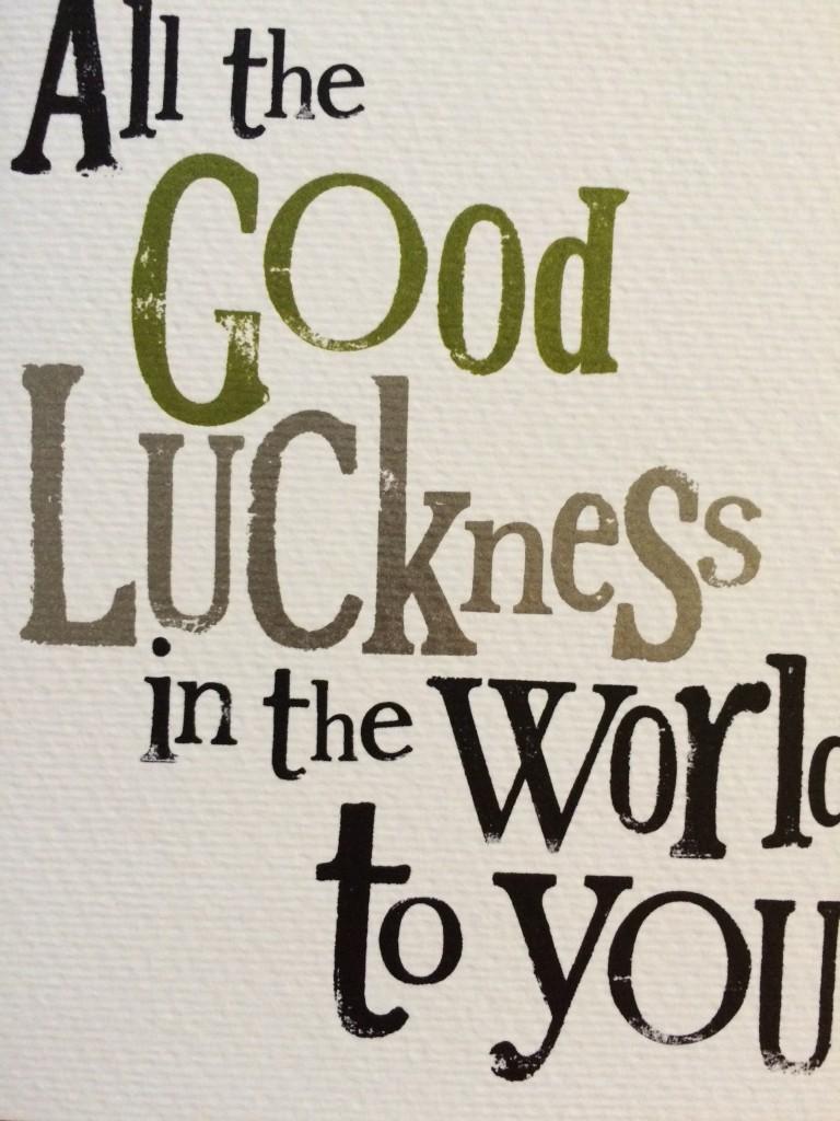 Good luck card, daughter, panto, 365