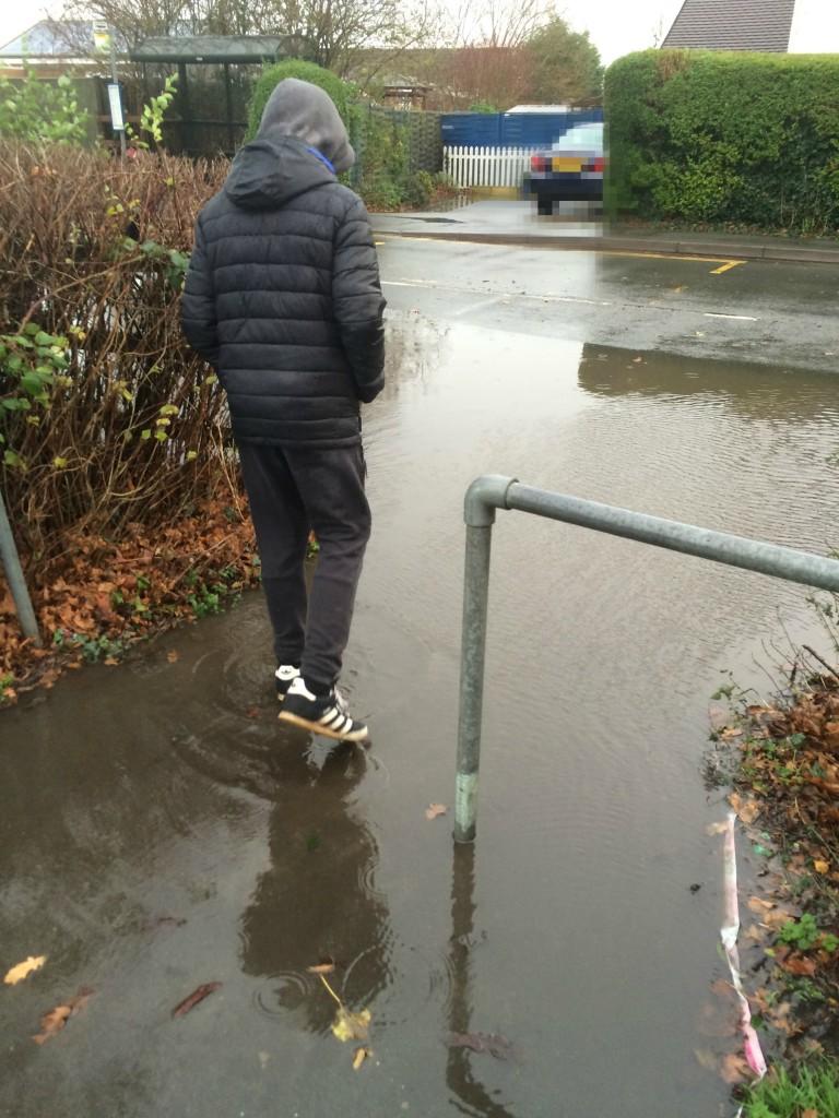 Son, Puddle, Rain, Walking