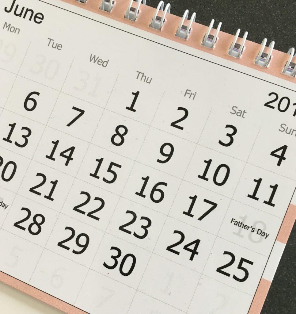Calendar, June, This week, last week