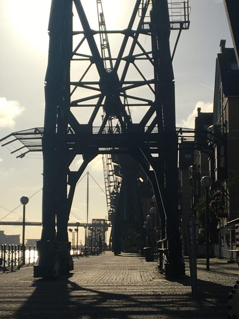 Cranes, Docklands, River Thames, London, A flying visit to London