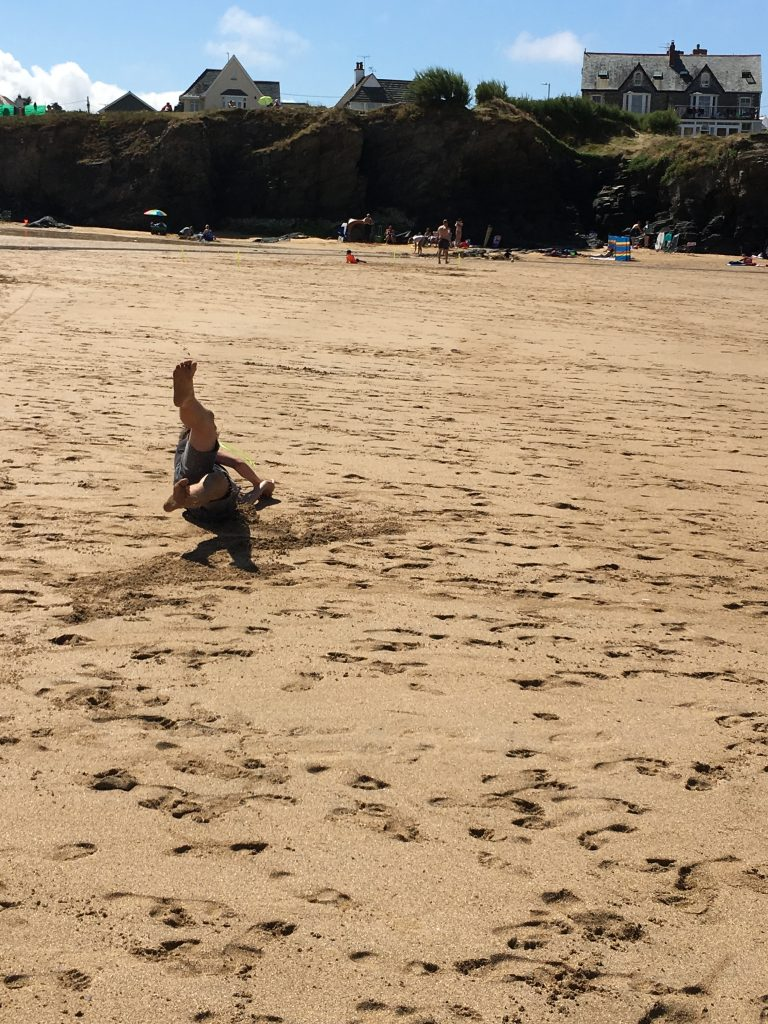 Frisbee, Son, Beach, Trevone, Cornwall, Padstow