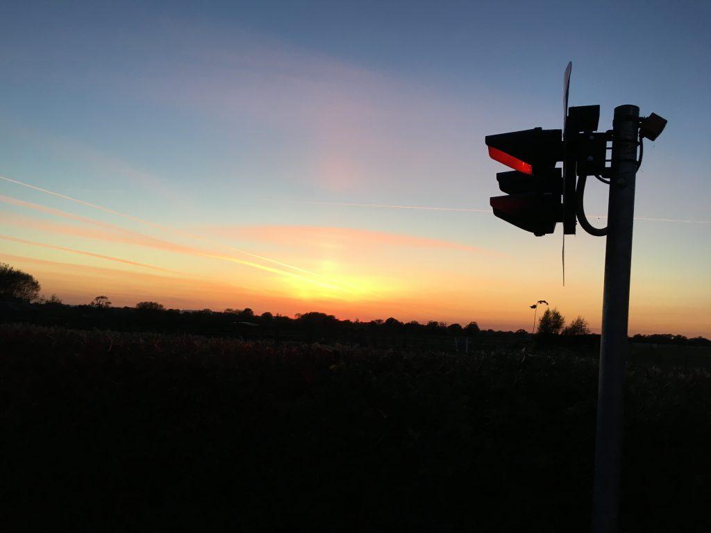 Sunset, Railway, Level crossing, 365