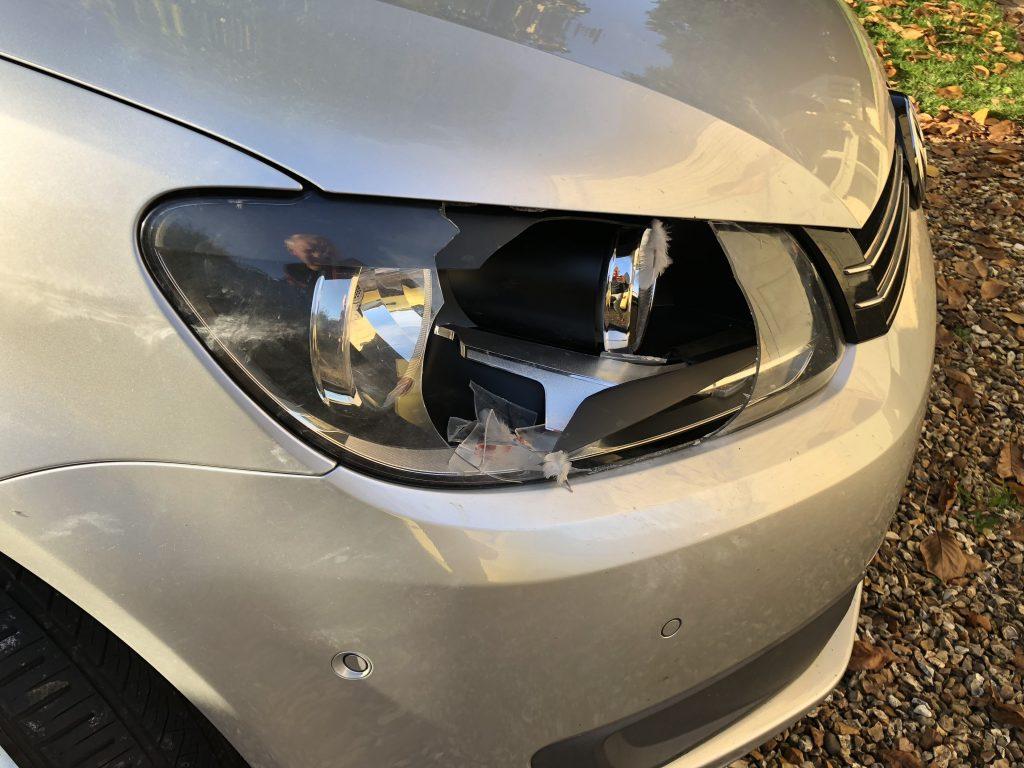 Headlight, Car, Broken headlight, Pigeon in the headlights