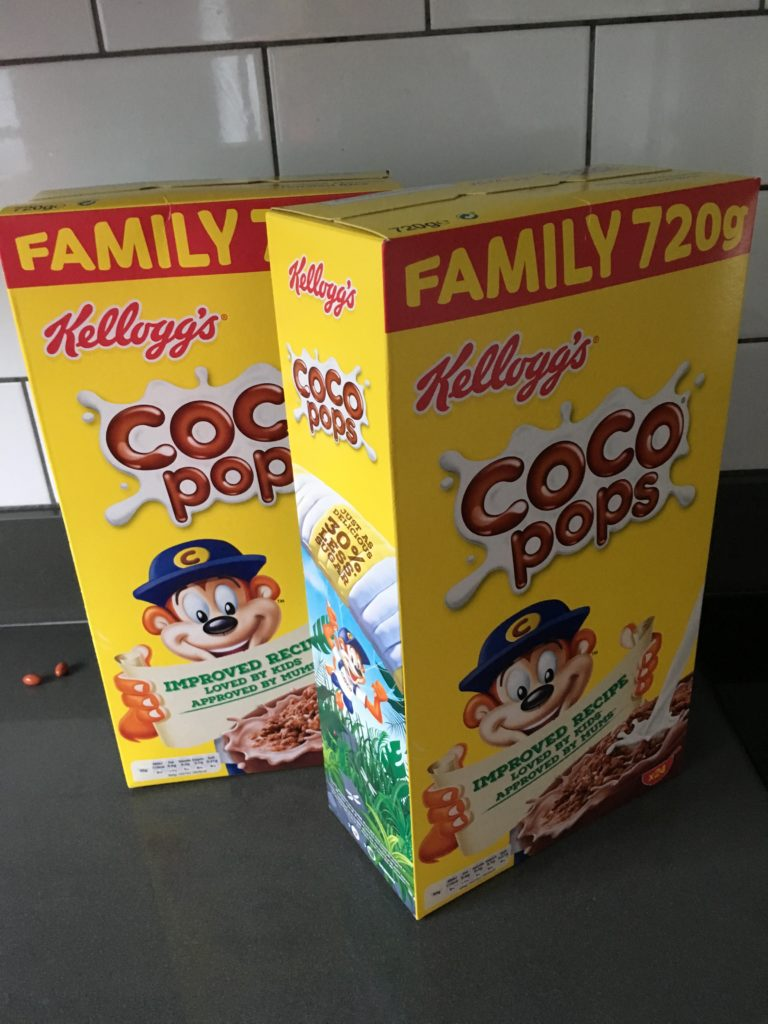 Cereal boxes, Coco Pops, Son, 365