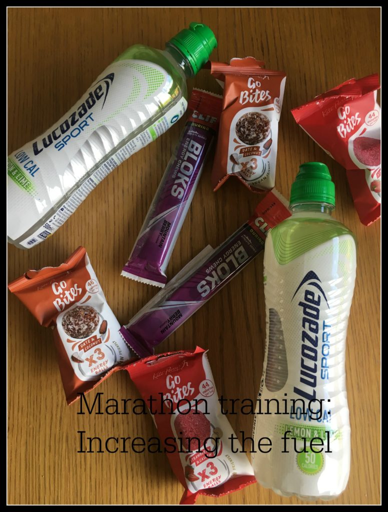 Marathon training increasing the fuel, Running, Marathon, Fuel, Lucozade, Clif Bloks, Go Bites