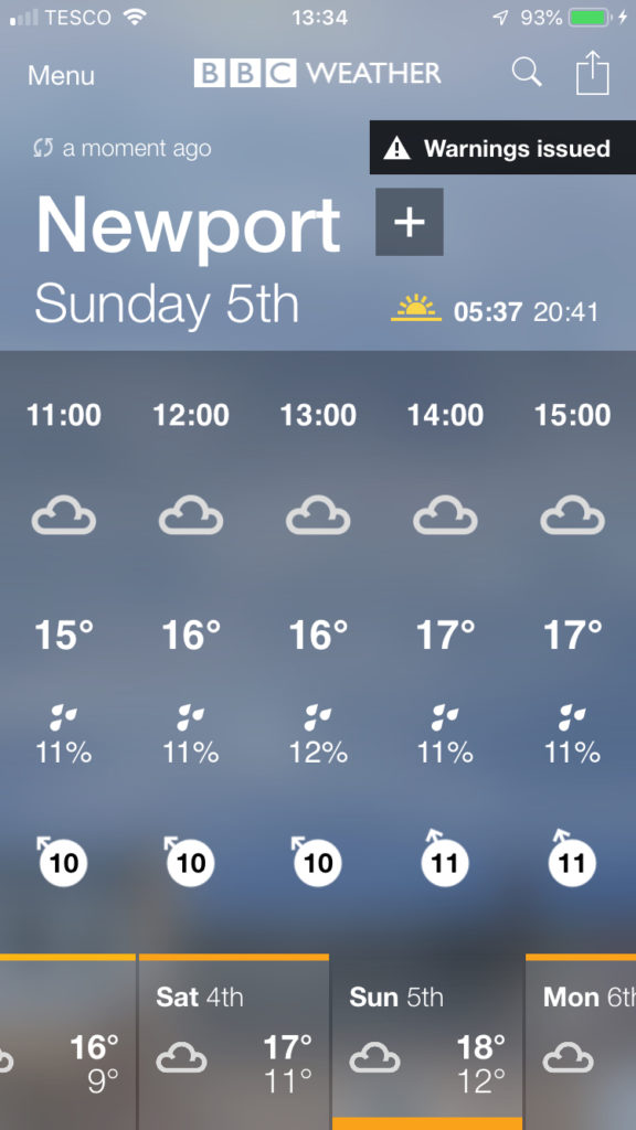 Weather forecast, Newport marathon, 365