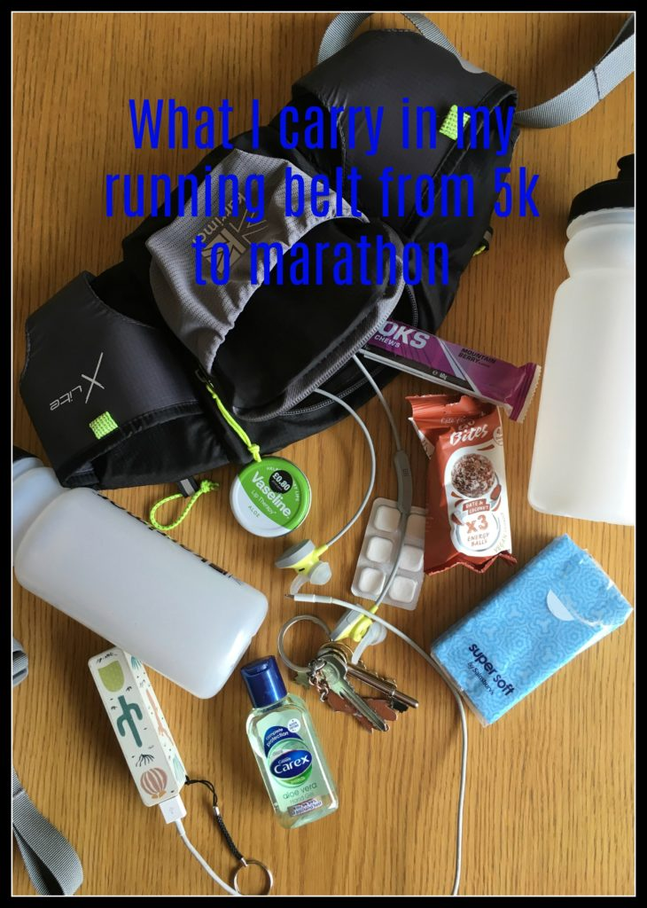Running belt, Running, Marathon, 5k, Half marathon, Training, What I carry in my running belt from 5k to marathon