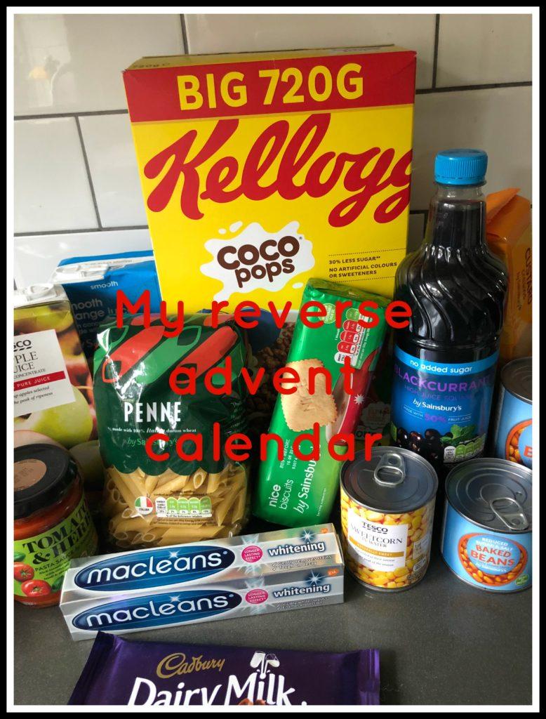 reverse advent calendar, my reverse advent calendar, food, toiletries