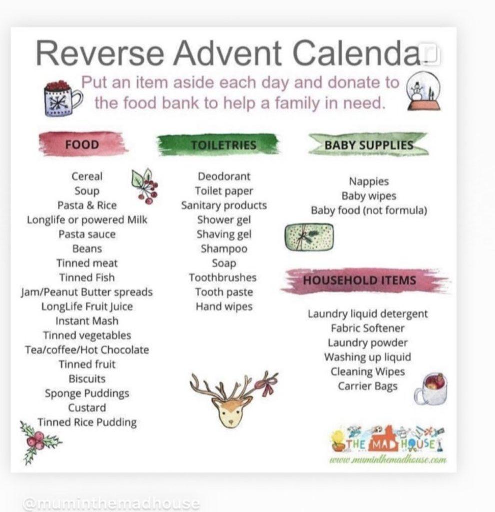 reverse advent calendar suggestions, my reverse advent calendar