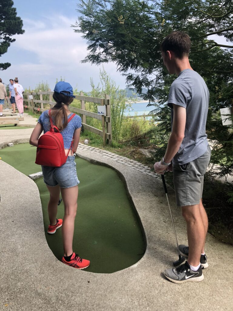crazy golf, son, daughter, Padstow, Cornwall