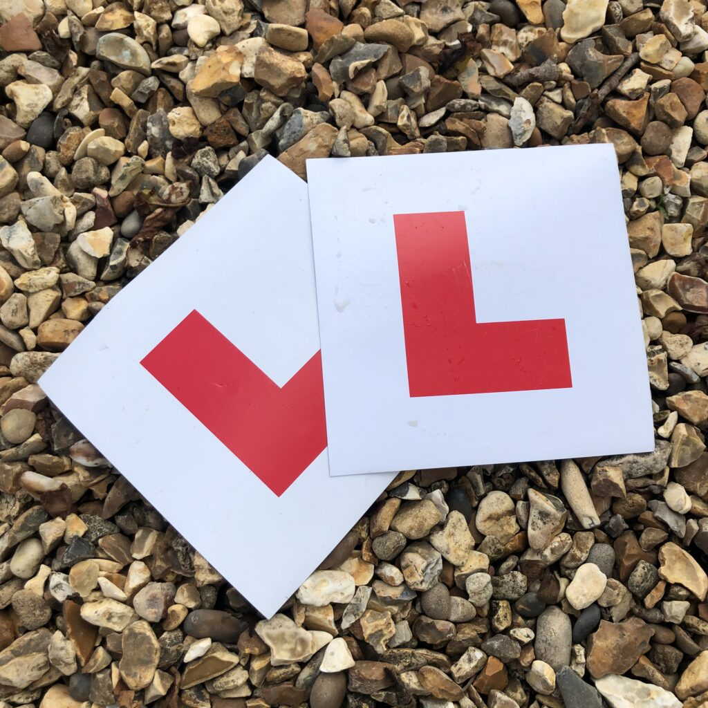 L plates, Learner driver, Driving lessons, Driving test, Learning to drive